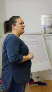 Diane Ní Chanainn leading a séan-nos workshop during a singing holiday at The Song House in Falcarragh Donegal